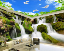 beibehang Seductive atmospheric waterproof papel de parede wallpaper waterfalls water rock stereoscopic theme space background