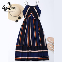 AZULINA Casual Striped Beach Dress Women Sexy Sleeveless Spaghetti Strap Midi A Line Summer Party Dress