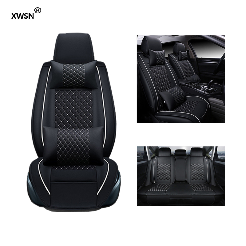 XWSN Universal car seat cover for mazda cx-5 cx-7 cx-9 2 3 bk 6 gh 6 gg 323 626 demio car seat cover Car seat protector for mazda 6 2 3 cx 5 cx 7 cx 9 brand beige red black coffee yellow leather car seat cover front and rear complete cover car seat