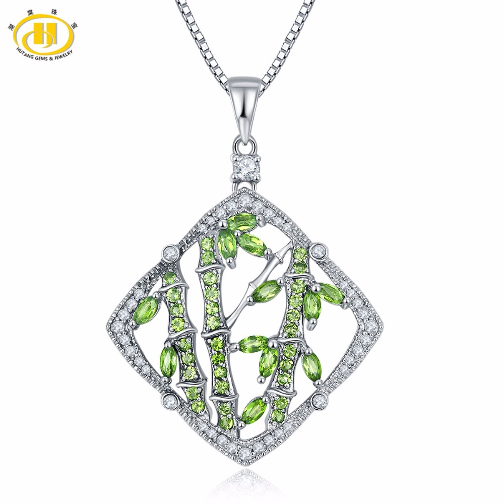Hutang Solid 925 Sterling Silver 1.66ct Natural Gemstone Chrome Diopside Bamboo Shape Pendant & Necklace Fine Jewelry For Women