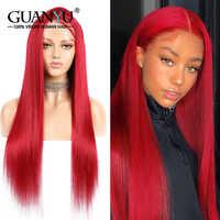 Dentelle rouge avant perruque cheveux humains 13X4 150% densité longue droite Remy cheveux préplumés couleur bourgogne perruques avec des cheveux de bébé