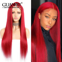 Red Lace Front Wig Human Hair 150% Density Straight Remy Hair 13X4 Pre plucked Colored Burgundy Wigs With Baby Hair
