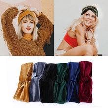 Women Retro Velvet Twist Headband Noble Scrunchy Cross Hair Band Turban Headband Bandana Hair Accessories sequin twist headband