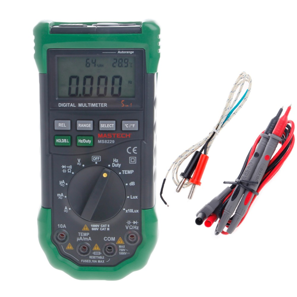 MS8229 5 in1 Auto Range Digital Multimeter Lux Sound Temperature Humidity Tester New digital indoor air quality carbon dioxide meter temperature rh humidity twa stel display 99 points made in taiwan co2 monitor