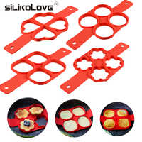 Nonstick Pancake Maker 4 Grids Silicone Kitchen Pancake Mold Egg Cooking Tool Easy Fried Egg Ring Maker