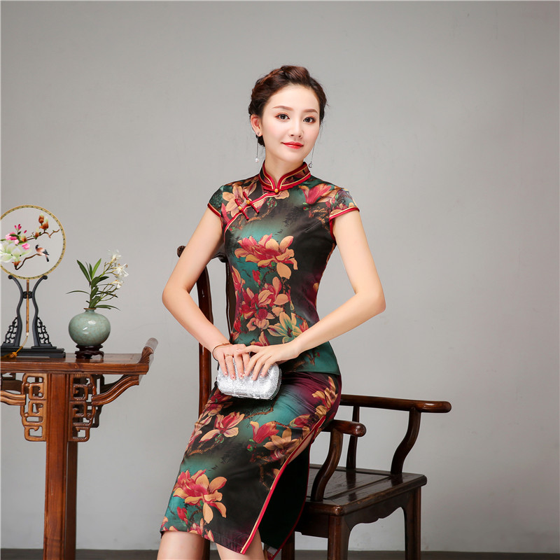 Royal Women Casual Daily Dress Chinese Style Print Flower Qipao 100% Silk Long Cheongsam Vintage Evening Party Dressing Gown - 2