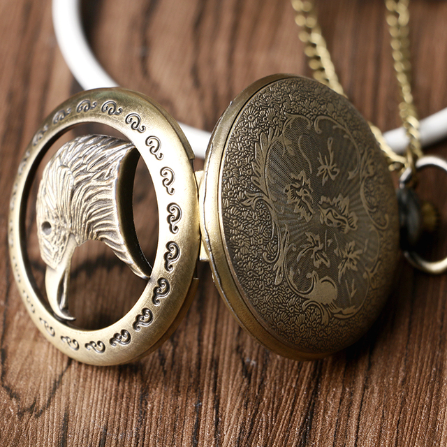 Cool Eagle Hawk Head Necklace for Men Women Parents Vintage Bronze Quartz Pocket Watch Retro Pendant with Long Chain 2018 Gift