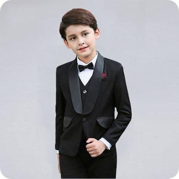 цена на Black Shawl Lapel Boy Suits for Wedding Kids Blazers Suit for Boy Costume Enfant Garcon Mariage Child Blazer Groom Tuxedo 3Piece