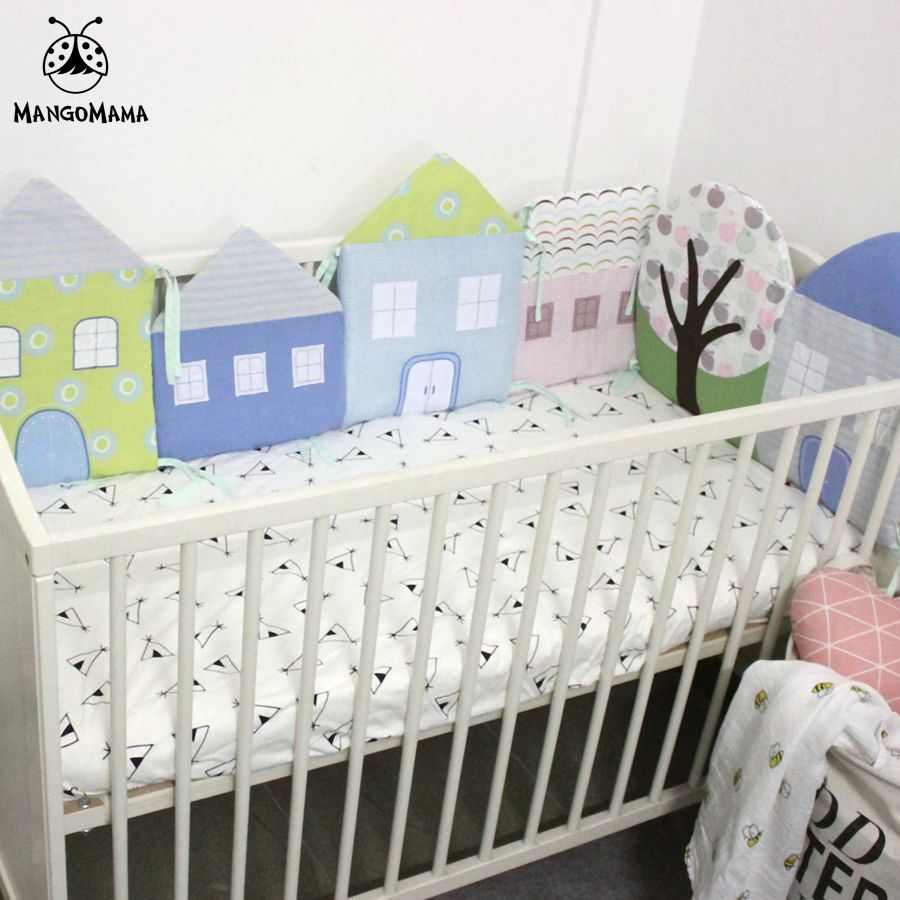 Baby bed in nigeria - 6pcs Baby Bed Bumper Crib Bedding Set Breathable Soft Bed Around Protection House Shape Bumper Set