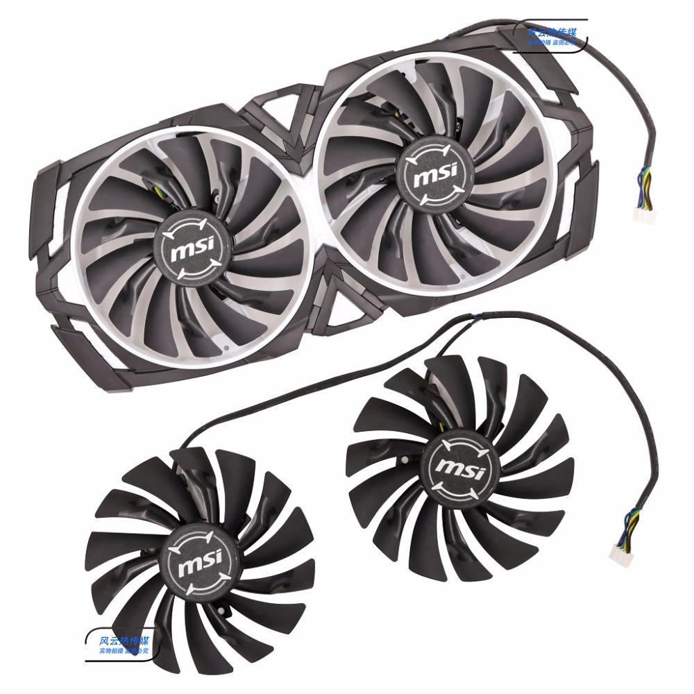 Original for MSI GTX1080Ti/1080/1070Ti/1070/1060 ARMOR Graphics card cooling fan PLD10010S12HH 12V 0.40A 95mm diameter 50cm 4p double headed dupont line male to male 4pin revolution color connecting line