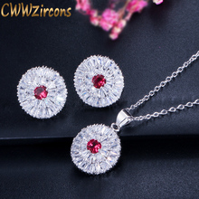 CWWZircons 2018 Trendy Women Pendant Necklace And Earrings Jewelry Sparkling Round Cut CZ Stone Jewelry Sets For Ladies T084