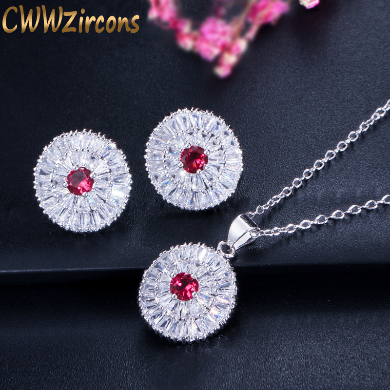 CWWZircons 2018 Модні жіночі кулон намисто та сережки ювелірні вироби іскристих круглим вирізом CZ кам'яні ювелірні набори для дам T084