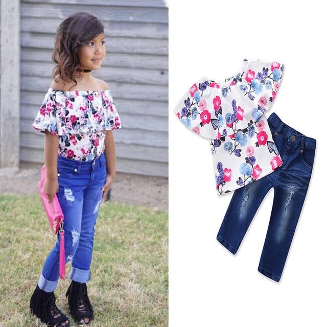f21262f3cc48 Summer Active Children Clothing Set Toddler Kids Girl Flower Pattern Off  Shoulder Tops+Jeans 2018 Baby Girls Clothes Sets