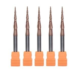 Image 1 - 5ピース/ロットHRC62コーティングされたD4 D6超硬ソリッド4ミリメートル6ミリメートルaltinルータービットcncテーパー木金属カッターコーンミル