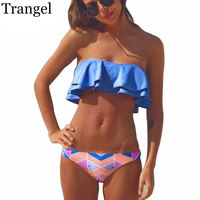 Trangel 2017 Sexy Bandeau Bikinis Women Solid Color Brazilian Bikini Set Beach Bathing Suit Brazilian Padded
