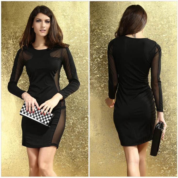 93d43f06533 New Classy Women's O-neck Long Sleeves Lace Sides Skimpy Design Night Club  Dress Ballroom Party Costume PL6156