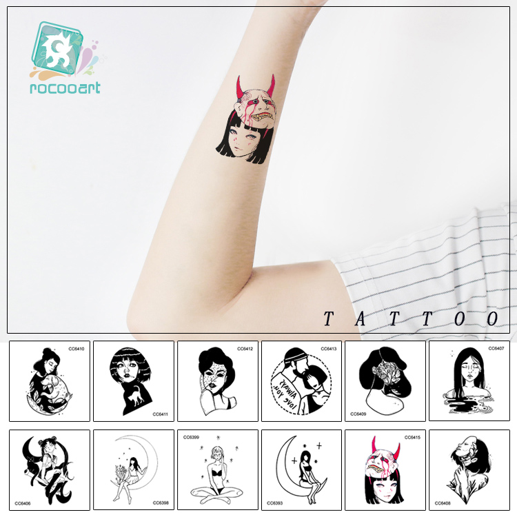 16 Sheets Different Black Small Tattoo Design Women Unique Temporary Tattoo Sticker Body Art Fake Hands Tatoo.