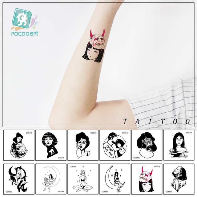 16 Sheets Small Different Black Small Tattoo Design Women Unique Temporary Tattoo Sticker Body Art Fake Hands Tatoo.