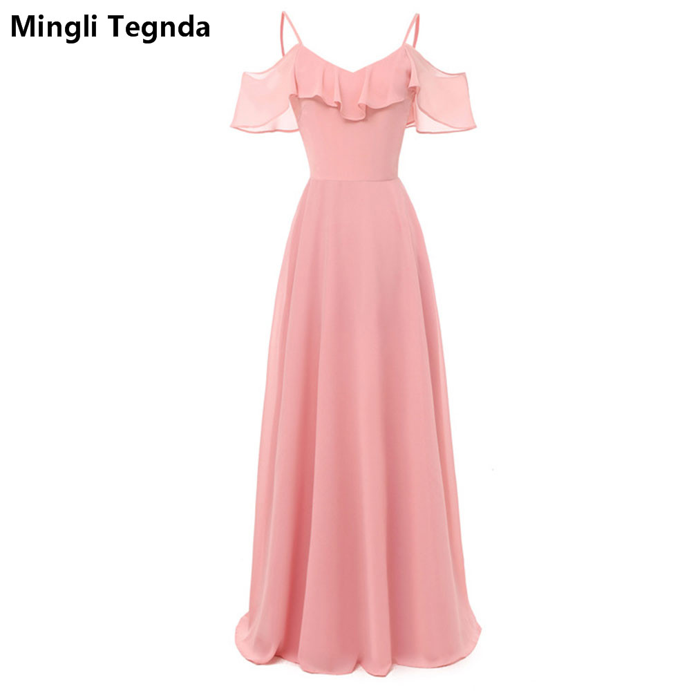 Mingli Tengda Red wine <font><b>Bridesmaid</b></font> <font><b>Dress</b></font> Spaghetti Straps Wedding Party <font><b>Dress</b></font> <font><b>Sexy</b></font> Pink Chiffon Navy <font><b>Bridesmaid</b></font> <font><b>Dresses</b></font> Backless image