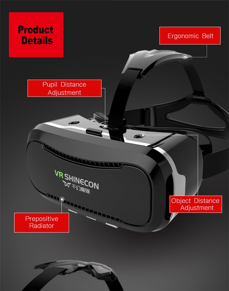 VR Shinecon II 2 Virtual Reality Googles Headset 3D IMAX Video Movie Game Glasses Private Theater for 4.7 - 6 inch Mobile Phones (15)