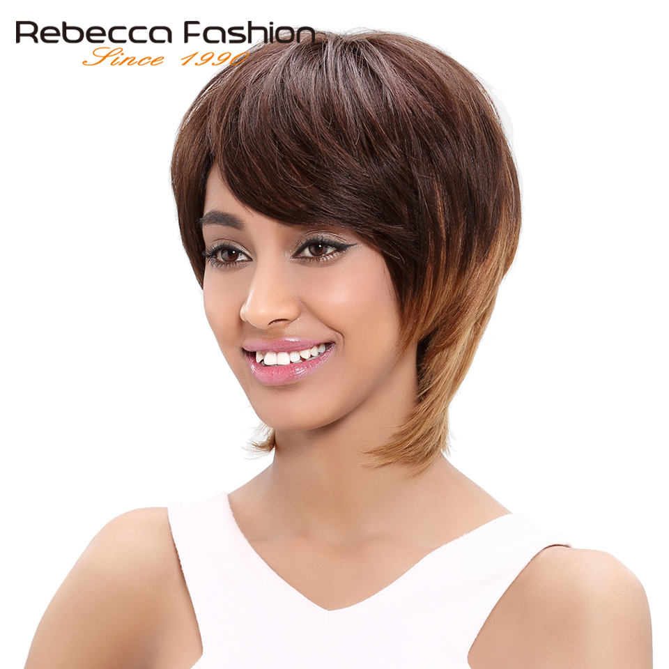 Rebecca Brazilian Straight Hair Short Straight Remy Human Hair Brown Blonde Wigs For Women Brown Ombre Hair Wig Color 4/30/27