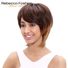 Rebecca Brazilian Straight Hair Short Straight Remy Human Hair Brown Blonde Wigs For Women Brown Ombre Hair Wig Color 4/30/27(China)