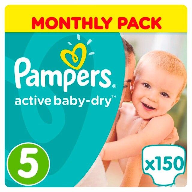 Подгузники Pampers Active Baby-Dry 9-16 кг, 5 размер, 150 шт.
