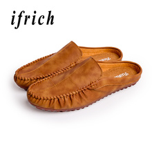 Купить с кэшбэком Fashion Half Loafers Shoes Yellow Khaki Walking Men Shoes Weight Light Young Casual Male Shoes Breathable Slip on Flats Footwear