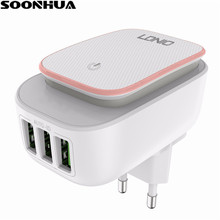 SOONHUA 3-Port LED Lamp USB Charger Adapter 2-IN-1 Travel Wall EU US Plug Mobile Phone Charger 3.4A Max for iPhone Samsung