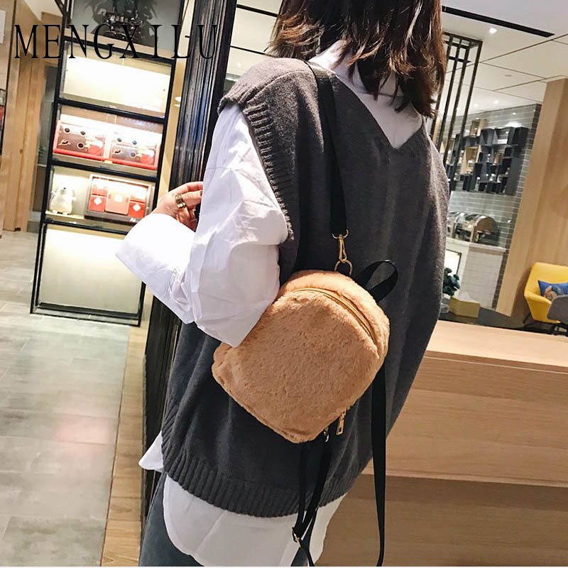 bf50b0966033 Detail Feedback Questions about 2018 New Hot Winter Faux Fur Backpack Soft  Cute Fashion Small Travel Bag Teenages Girl s Birthday Gift School Book Bag  ...