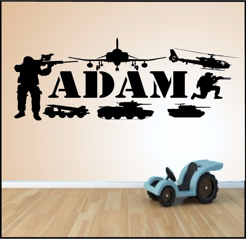 Custom made personalized army military soldier tank gun wall sticker boys room wall vinyls art