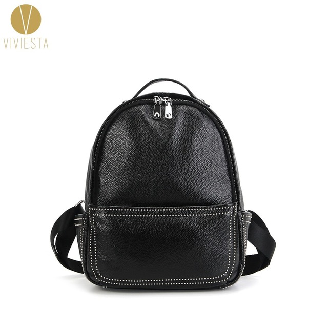 05ac1360e4 SOFT LEATHER STUDDED STRUCTURED BACKPACK - Women s Men s Genuine Real  Leather Zip Around Rivet Rock Small Mini School Travel Bag