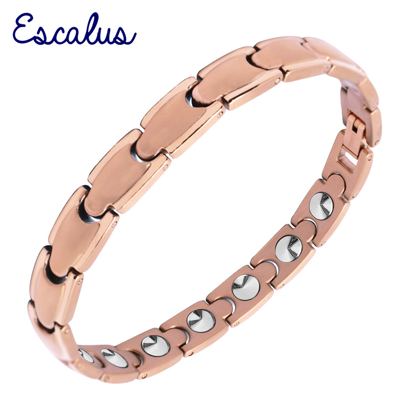 Escalus Simple Style 16pcs High Pure Germanium Women Bracelet Bio Health Care Rose Gold Color Charm Titanium Bracelets trendy top white ceramic bracelet elegant star health care titanium bracelets