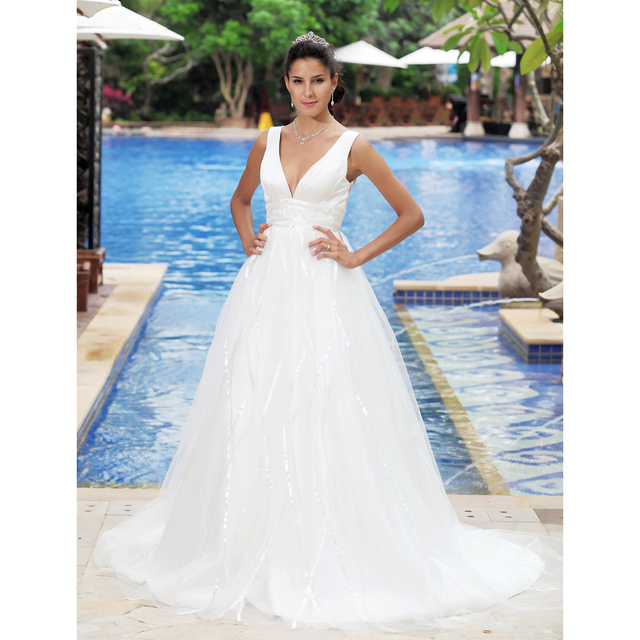 LAN TING BRIDE A-Line Wedding Dress Backless Sleeveless V-neck Court Train Satin Tulle Bridal Gown with Draped