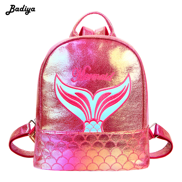 c180a72d6f0 US $22.48 |Fashion Laser Lady Backpack Mermaid Pattern PU Leather  Holographic Bag Small Travel School Bag Rucksacks for Girl Book Bags-in  Backpacks ...