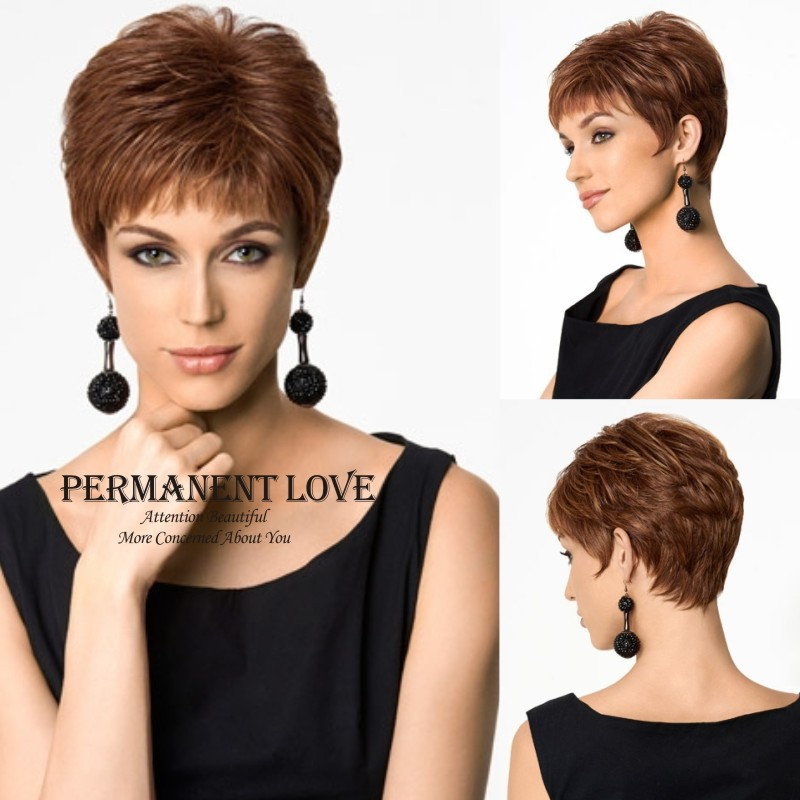 pixie haircut wig heat resistant synthetic auburn wigs for pixie 4270