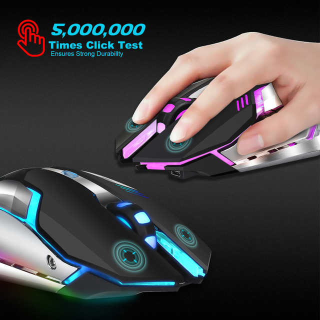 HXSJ M10 Wireless Gaming Mouse 2400dpi Rechargeable 7 Color 2