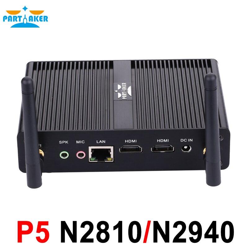 Partaker Baytrail Fanless Nuc Mini PC with Dual HDMI USB 3.0 Intel Celeron N2810 N2920 N2930 Palm Sized