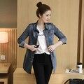 Новый прибыл осень зима женщины Тренч Epaulet джинсы Мода Повседневная длинными рукавами Тонкий Пальто Все матч Верхняя Одежда Women'sClothing