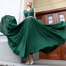 2016 Ultra Wide Swing Chiffon Summer Long Dress Green Loose Design V neck Sleeveless Beach Dresses Vestidos Casual