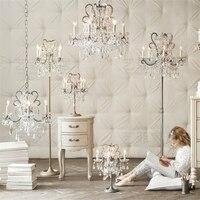 Французский стиль дворец Кристалл исследование стол свет спальня настольные лампы принцесса номер прикроватные украшения роскошный стол