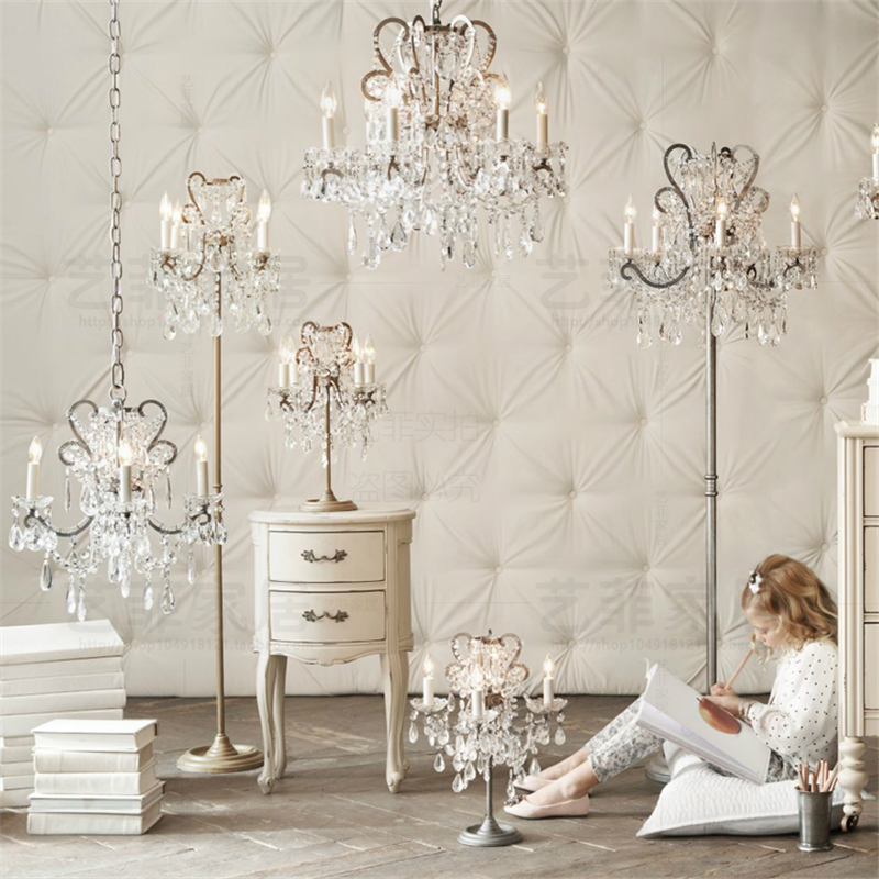 French style palace crystal study desk light bedroom table lamps Princess Room bedside decoration luxury table