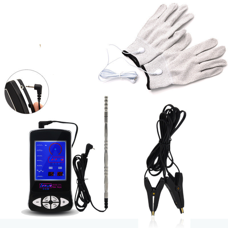 Electrical Shock Silver Fiber Therapy Electrode Gloves Erotic Accessories Catheter Sounds Electric Conductive Nipple Clamps Toys