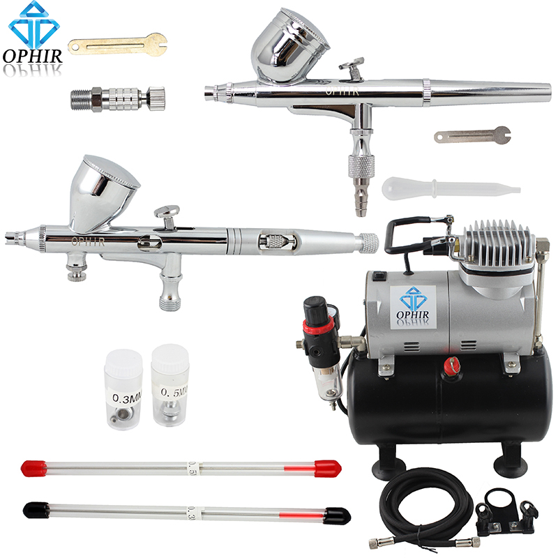 OPHIR 0.2&0.3&0.5mm Gravity Dual-Action Airbrush Kit with Air Tank Compressor for Cake Decorating Nail Art Paint _AC090+004A+070 ophir professional dual action airbrush compressor kit with air tank for cake decorating model hobby tattoo  ac053 ac004 ac070