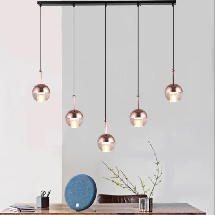 Simple creative gold single head ball chandelier stairs restaurant bar bedside rose gold G4 LDE glass ball pendant lamp.