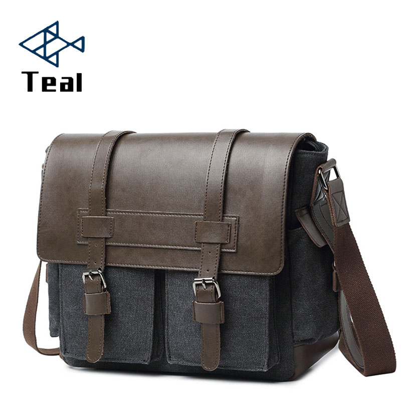 Designer Brand Canvas Briefcase Vintage Men Messenger Bags Fashion Male Shoulder Bag With Leather Crossbody Bags Briefcase