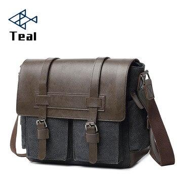 Designer Marke Leinwand Aktentasche Vintage Männer Messenger Taschen Mode Männlichen Schulter Tasche mit leder Umhängetaschen Aktentasche