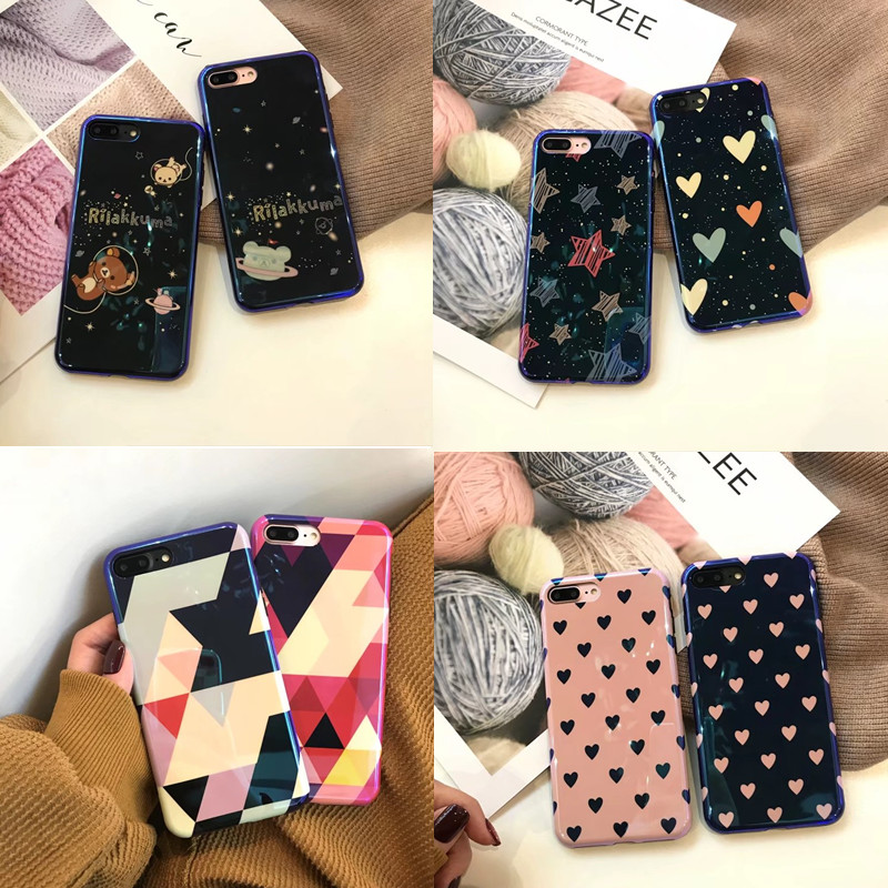 Blue Light Soft silicone Moon Planet Space Mirror Shining Back Phone Cases For iphone7 Case For iphone6 6s 8Plus X Cover Coque