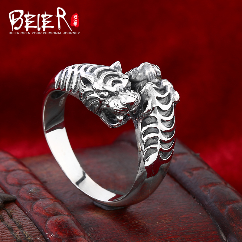 Beier 925 silver sterling jewelry 2015 fashion animal ring double tiger head design man ring opening D0973 beier 925 silver sterling jewelry2015 punk animal ring hailand four hands inlaid gems elephant man ring d0711
