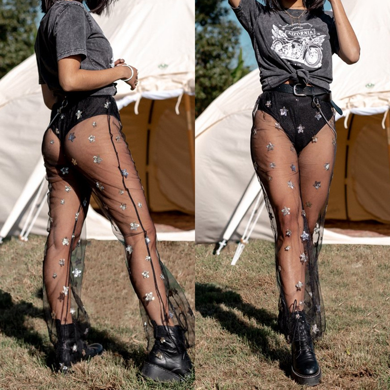 Women Sheer Mesh Flared Trousers Holiday See Through Beach Bikini   Pants   Sexy Sequins Lace   Pants   Hot
